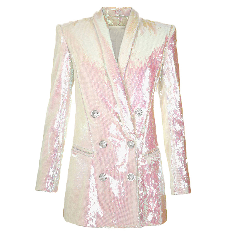 HIGH QUALITY Newest Fashion Runway 2020 Designer Blazer Women's Double Breasted Shawl Collar Shimmer Sequined Long Blazer Jacket