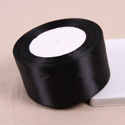 25 метров/рулон 50 мм 2 дюйма черный атлас Ленты для свадьбы Аксессуары оптовая продажа подарочной упаковки ленты