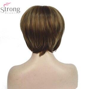 Image 5 - StrongBeauty женский короткий прямой парик в стиле Боба, коричневый, с светлыми акцентами, синтетические натуральные парики