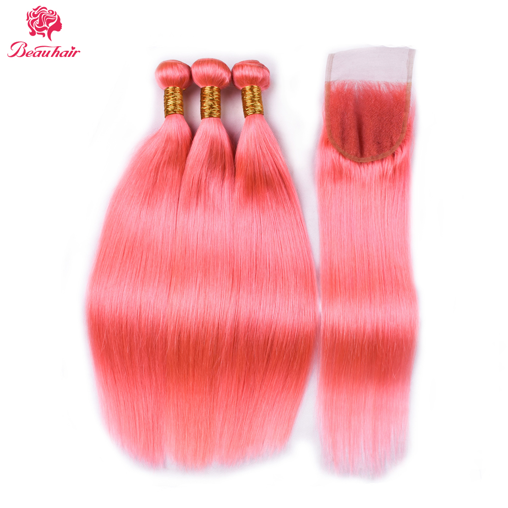 Beau Hair Malaysia Straight Hair 3 Bundles With 4*4 Closure Rose Gold Color Human Hair bundles With Closure Remy Hair