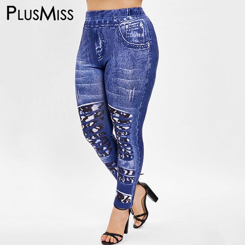 PlusMiss Plus Size 5XL Imitation Jeans Denim Printed   Leggings   Women Skinny Jeggings Leggins Pants Legins Big Size XXXXL XXXL XXL