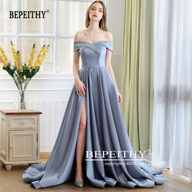 2019 BEPEITHY Abiye Long Tail Dress Off The Shoulder Evening Dress Party Elegant Robe De Soiree Sexy Prom Dresses High Slit 3