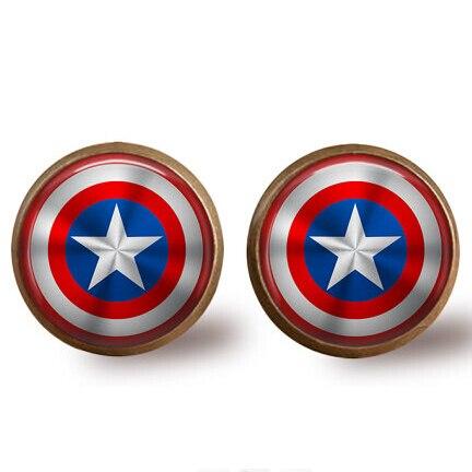 US Movie Captain America Uhani Mestniki Age of Ultron 1pcs / lot medeninasti ščitnik Steklo Dome Dome uhani Ženske Nakit moški