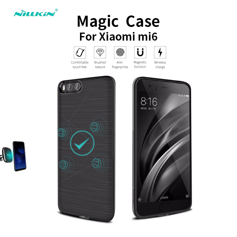 low priced 405ca 2dc4e Nillkin Magic Case for Xiaomi mi6 Qi Wireless Charging Receiver Cover for  Xiaomi mi 6 Cell Phone Shell Charger case for mi6
