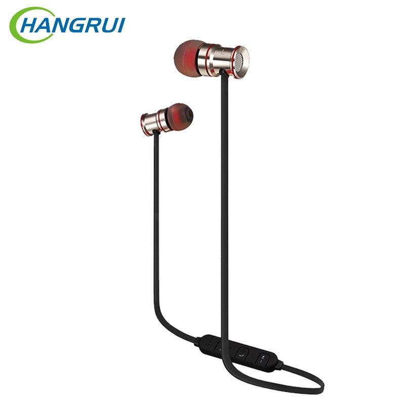 Hangrui H8 Magnetic Headphones Wireless Bluetooth Earphone Sport Running Sweatproof Headset With Mic Stereo Heavy Bass Earbuds