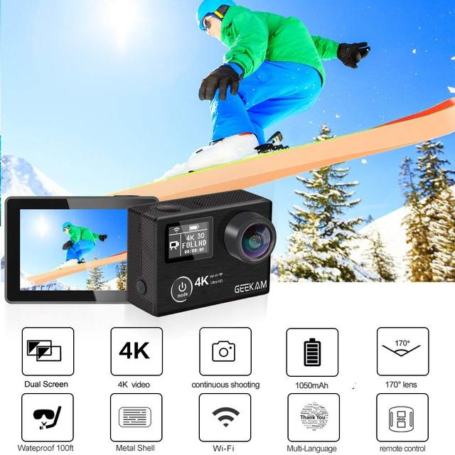 Waterproof Black Action Camera with Wi-Fi