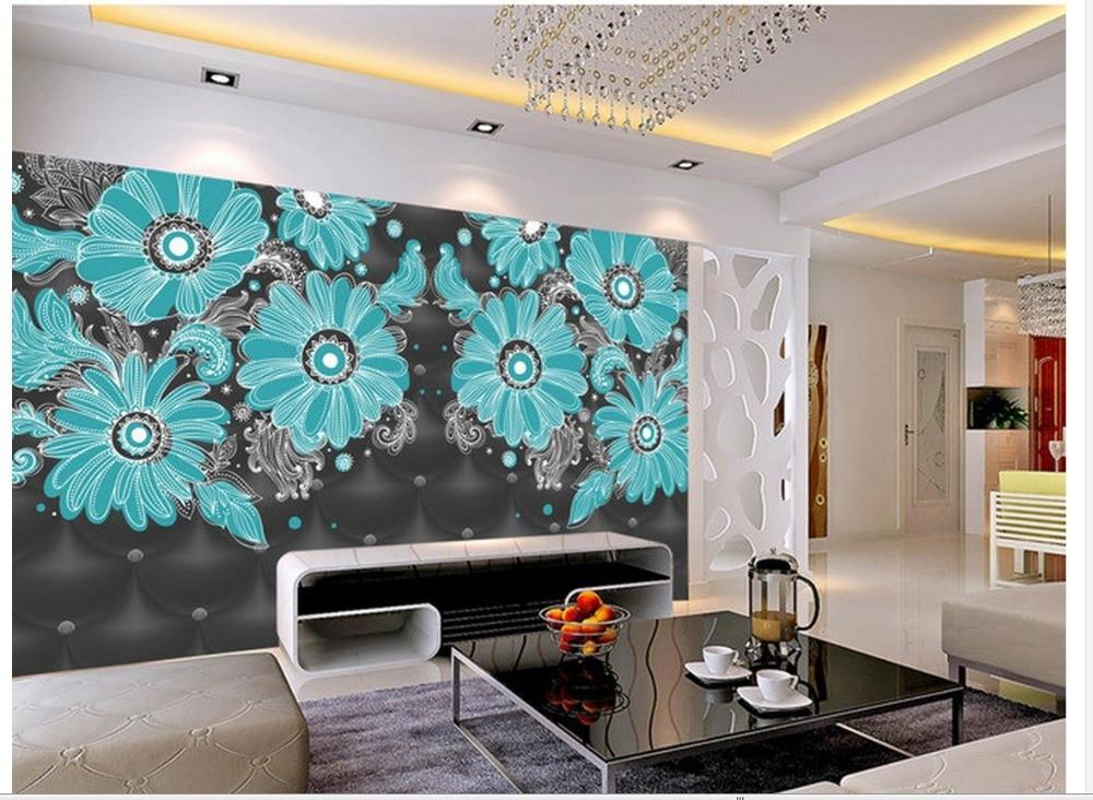Online get cheap moderne behang blauw for Behang kamer