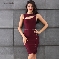 Leger Babe Sexy Bodycon Vestido Beading Sleeveless Hollow Out Women Bandage Dress New Wine Red 2018 Summer Cocktail Party Dress