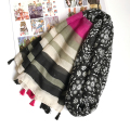Stripe Shawl Women Snow Pattern Scarf Flower Fashion Tassel Large Blanket Wrap Hot [0813]