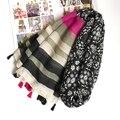Stripe Xale Mulheres Neve Cachecol Padrão de Flor Moda Borla Grande Cobertor Envoltório Quente [0813]