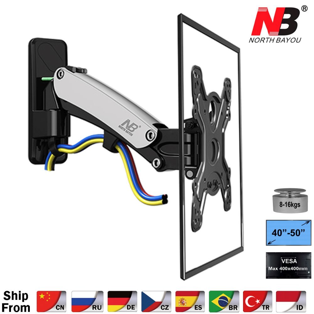 "NB F350 Aluminum Gas Spring 40"" 50"" LCD LED TV Wall Mount Full Motion Monitor Holder Arm Loading 17.6 35lbs (8 16kgs) Silver-in TV Mount from Consumer Electronics"