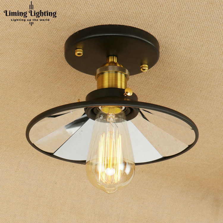 Retro Loft Style Mirror Glass Iron Vintage Ceiling Light Fixtures Edison Industrial Ceiling Lamp Antique lights Home Lighting loft vintage mirror glass ceiling lamp retro ceiling light industrial edison bulb antique lampshade ambilight lighting fixture