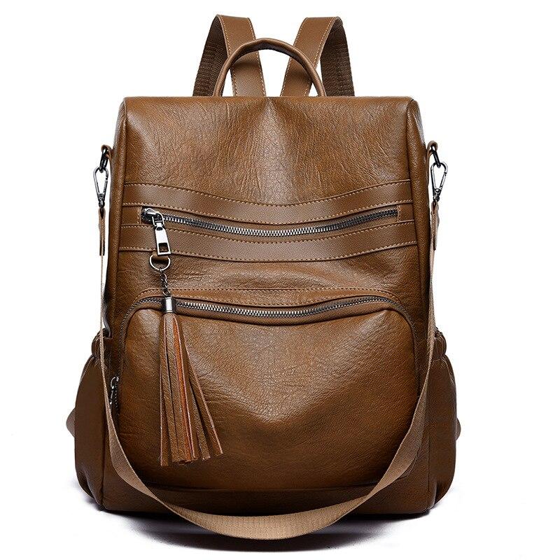 Sac à dos de voyage de marque automne hiver sac à dos de grande capacité en cuir souple avec fermeture éclair à pompon sac à dos Anti-vol