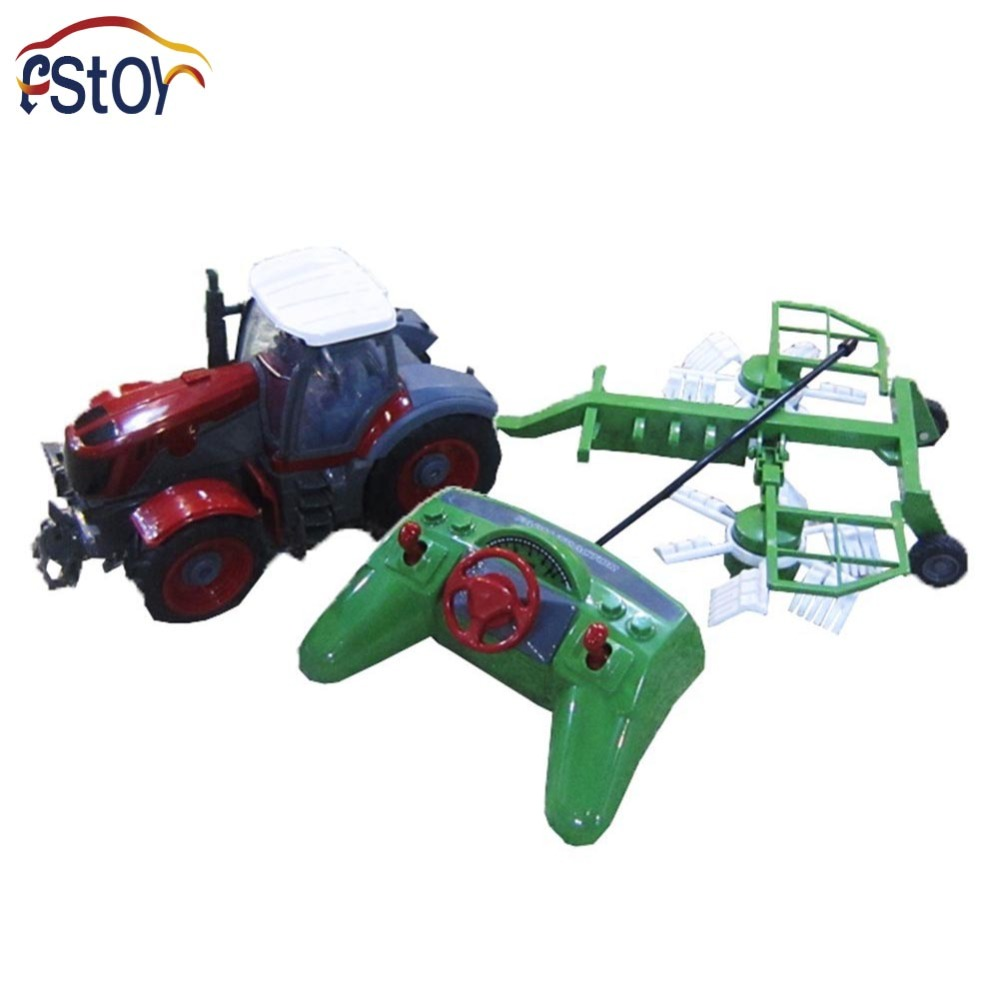 RC Car <font><b>4</b></font> Channel <font><b>4</b></font> Wheel Remote Control Farm Tractor Paratactic Double 5 Blade Rake With Plough