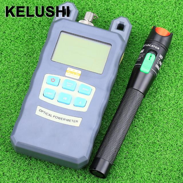KELUSHI Medidor De Energia De Fibra Óptica-70dBm ~ + 10 dBm De Potência E 30 mW De Fibra Óptica 20 KM Visual Cabo De Fibra Óptica Fault Locator Tester