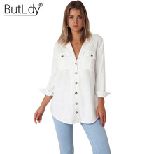 Button Long Sleeve White Casual Shirt Blouse Women Autumn Winter Cotton Pockets Tops and Blouses Solid Shirts 2018 Ladies Tops