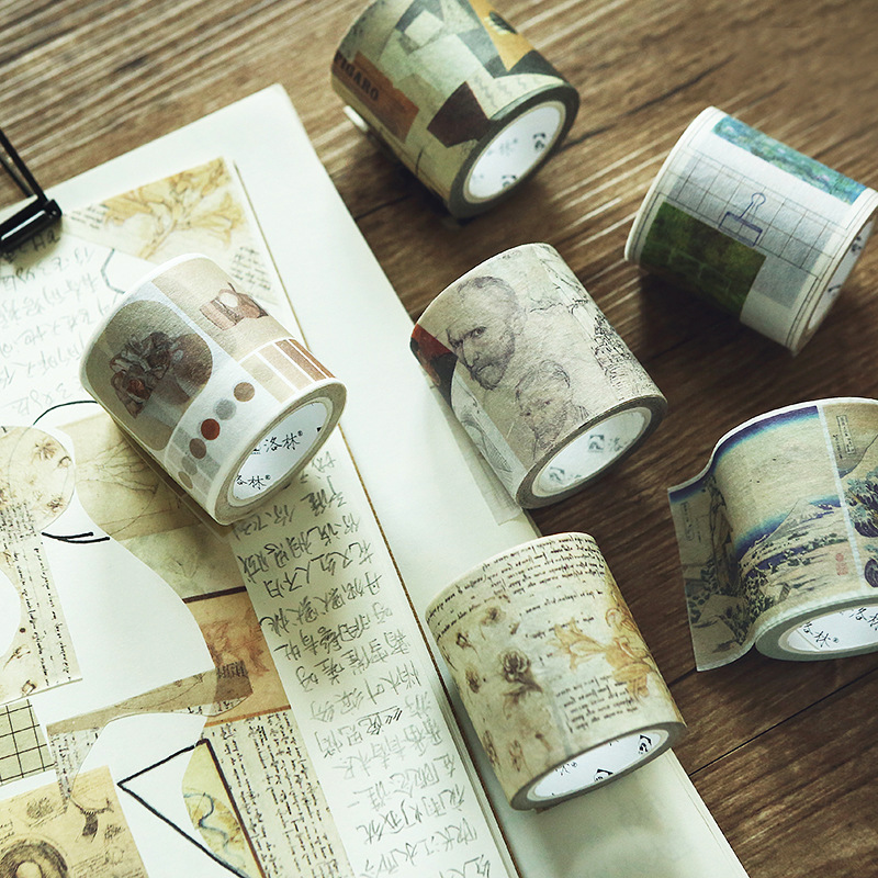 1 PCS Creative Master Vinci Van Gogh Monet  Painting Design Vintage Art Theme Washi Paper Adhesive Tape 40mm*7M 140 page note paper creative fruit design