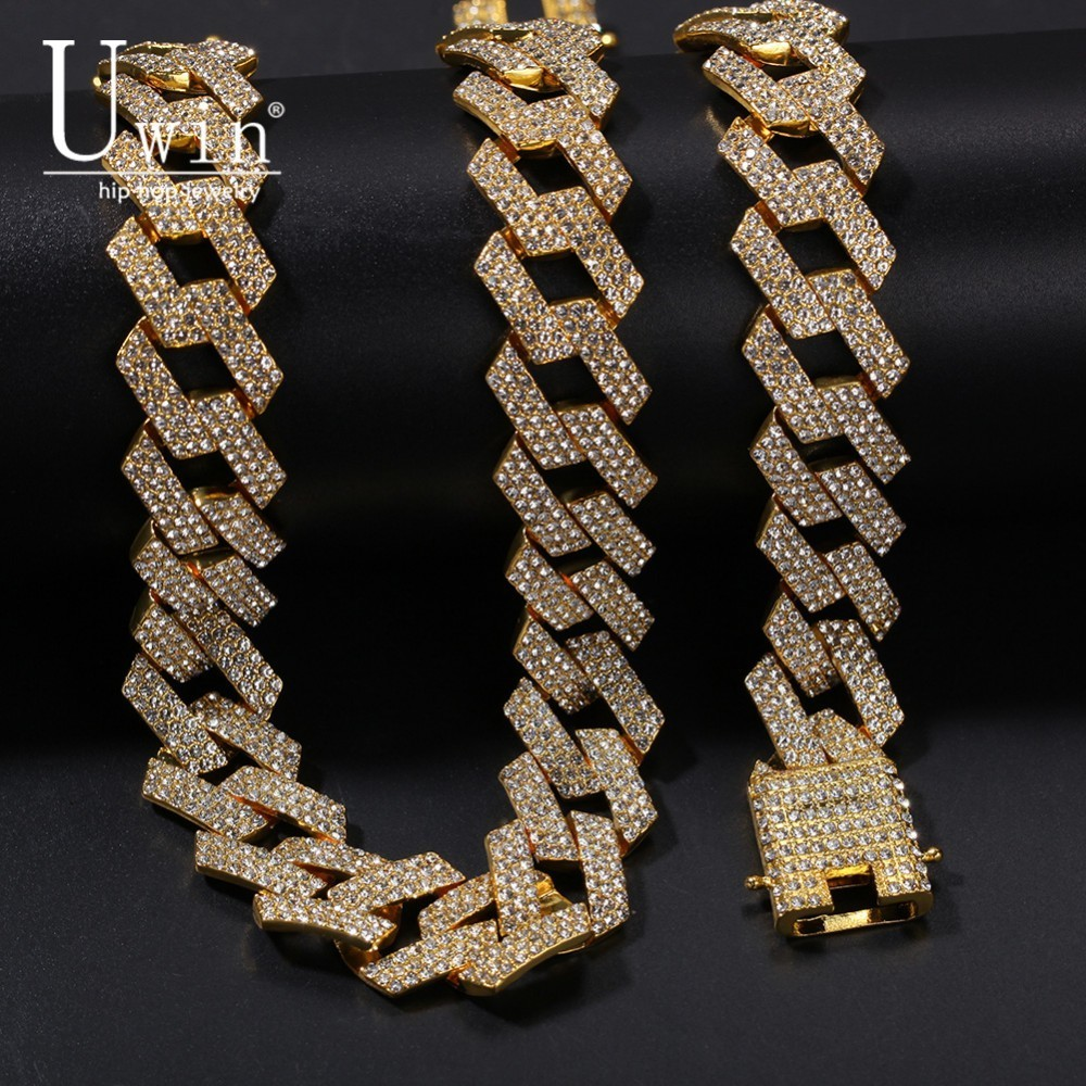 UWIN 20MM Prong Miami Cuban Chain Necklace & Bracelet And Set Full Iced Out Rhinestones NE+BA Mens Hiphop Jewelry For Gift-in Jewelry Sets from Jewelry & Accessories    1