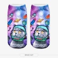 Cat 3D узор Графический полная печать Meias Cat носки до лодыжки 3D Носки для девочек Забавные Для женщин летние Носки для девочек