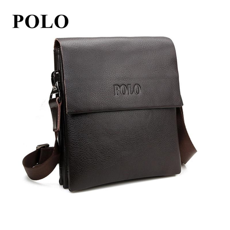 New POLO Famous Brand cow Leather Men Bag Casual Business genuine Leather Mens Messenger Bag Vintage Men's Crossbody Bag male все цены