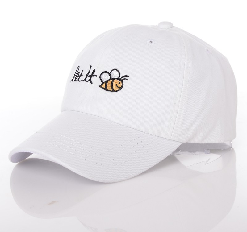 Let It Bee Baseball Cap - White Cap Front Angle View