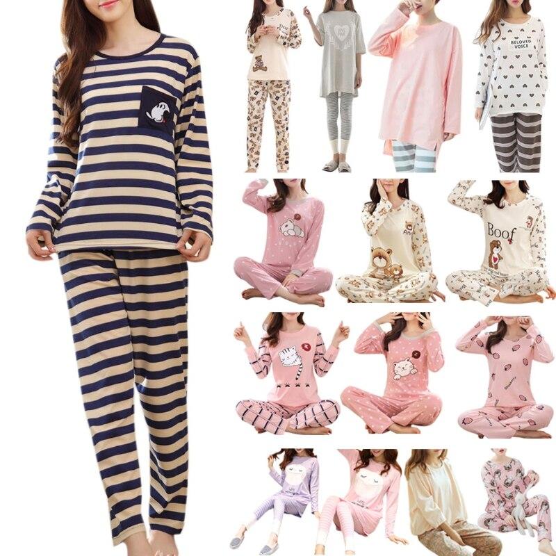 Womens Long Sleeve Pajamas Set Cartoon Print Sleepwear Home Clothing Autumn Cute