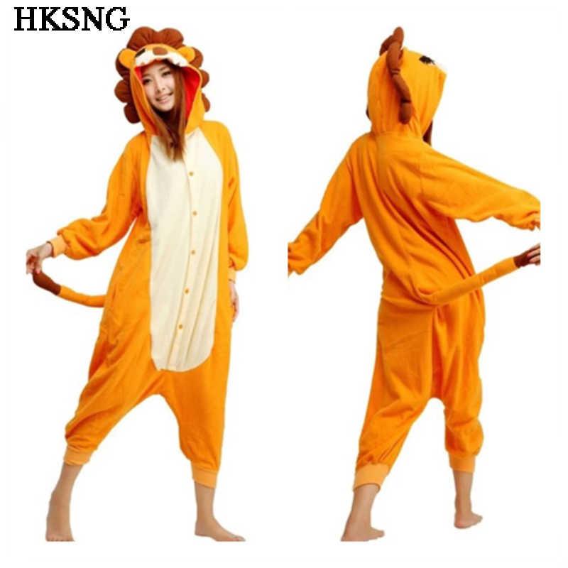 HKSNG новые взрослые для зимы оранжевый Лев пижамы высокое качество  животных Мультяшные ползунки пижамы костюм для 7d6306c9c7d54