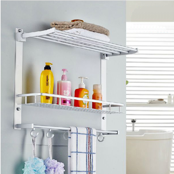 Aliexpress Bathroom Shelves Metal Chrome Movable Shower Shelf Bath Rack With Hooks Towel Hanger Shampoo Storage Holder Wall 7842 From