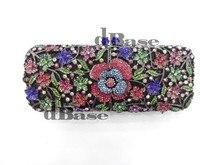 8255-D кристалл много — цвет леди цветок цветочный свадебные ну вечеринку полые металл вечернее портмоне сцепление мешок сумочка