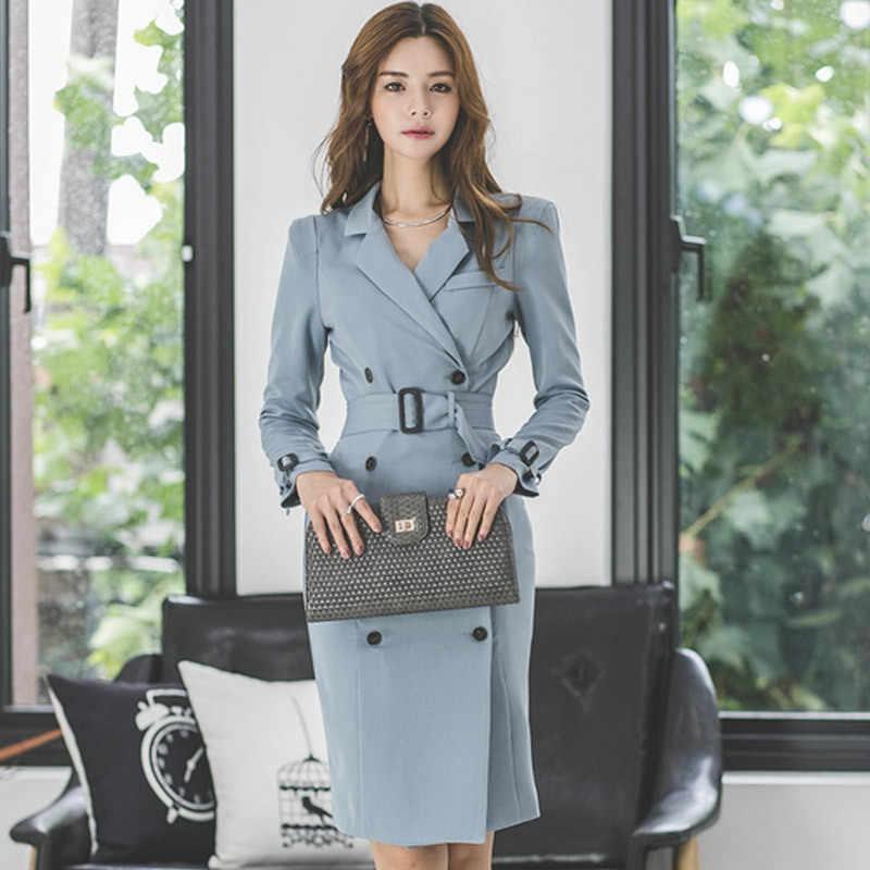 Foamlina オフィスブレザーの女性のエレガントな Ol ビジネスペンシルドレスノッチ襟長袖ダブル Breated 作業ドレス