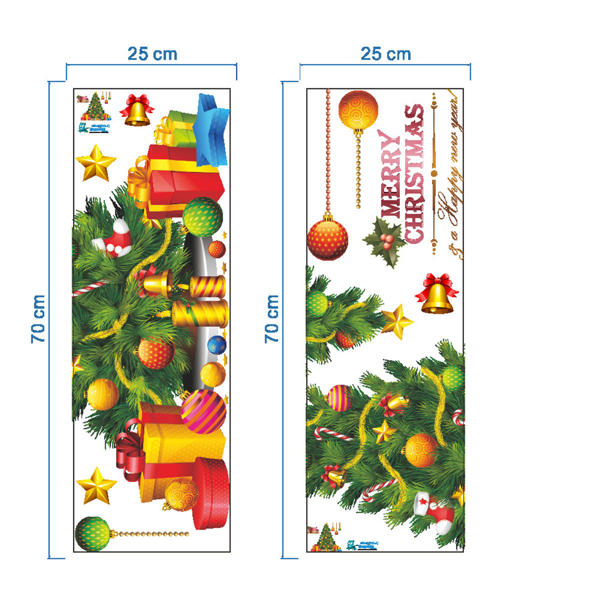 PVC Christmas Tree Wall Sticker Removable Xmas Paredes Windows Door Wall Stickers Posters New Year Home Decorations Ornaments