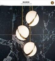 Nordic modern glass ball bubble led pendant light gold ring kitchen living room restaurant bedroom hanging lamp