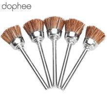 Dophee dremel acessórios 3mm marrom macio náilon polimento copo escova rodas polimento de metal para mini broca ferramentas rotativas * 5