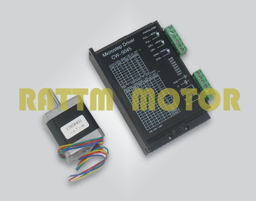 4 lead NEMA17 stepper motor 48mm 1 8A 78 oz in driver with CW5045 256 microstep