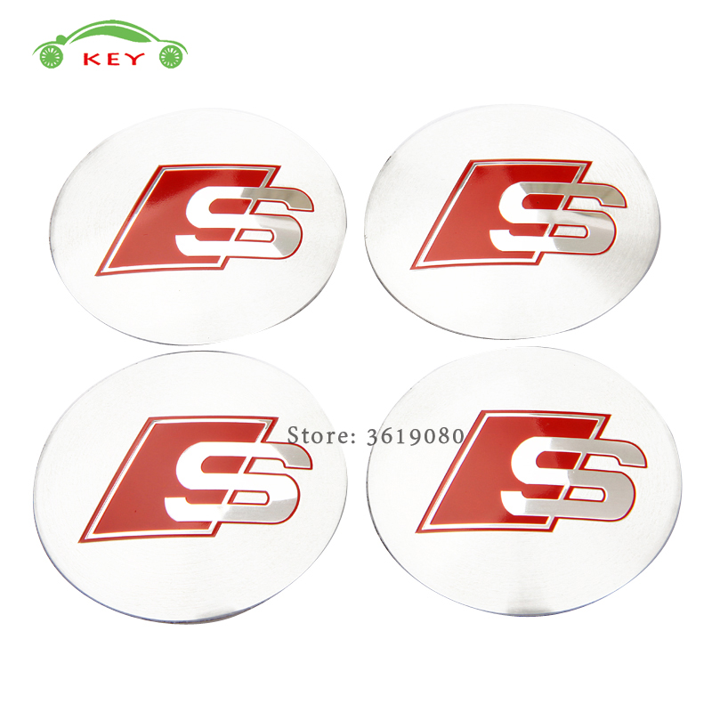 Car Styling Wheel Center Hub Caps Emblem Badge Stickers for S Line Logo for Audi S1 S3 S4 S5 S6 S7 RS4 A3 A4L A5 Q3 Q7 quattro