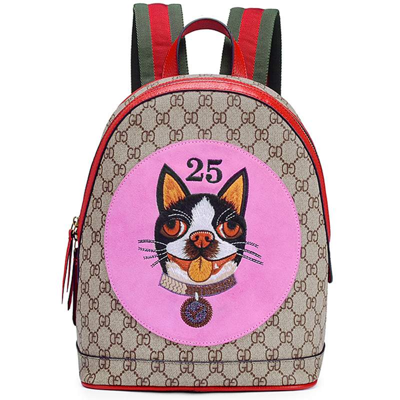 Luxury Genuine Leather Backpack Women High Quality Fashion Famous Brand Style Cute Dog Pattern Backpack Women Vintage gg Bag fashion style women crocodile pattern doctor women backpack famous bags women s pu leather rucksack bag z762