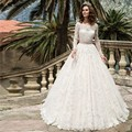Don's 2016 Long Sleeve Lace Wedding Dresses Turkey Boat Neck A Line Weding Country Western Sash Beads Weddingdress Bridal Gowns