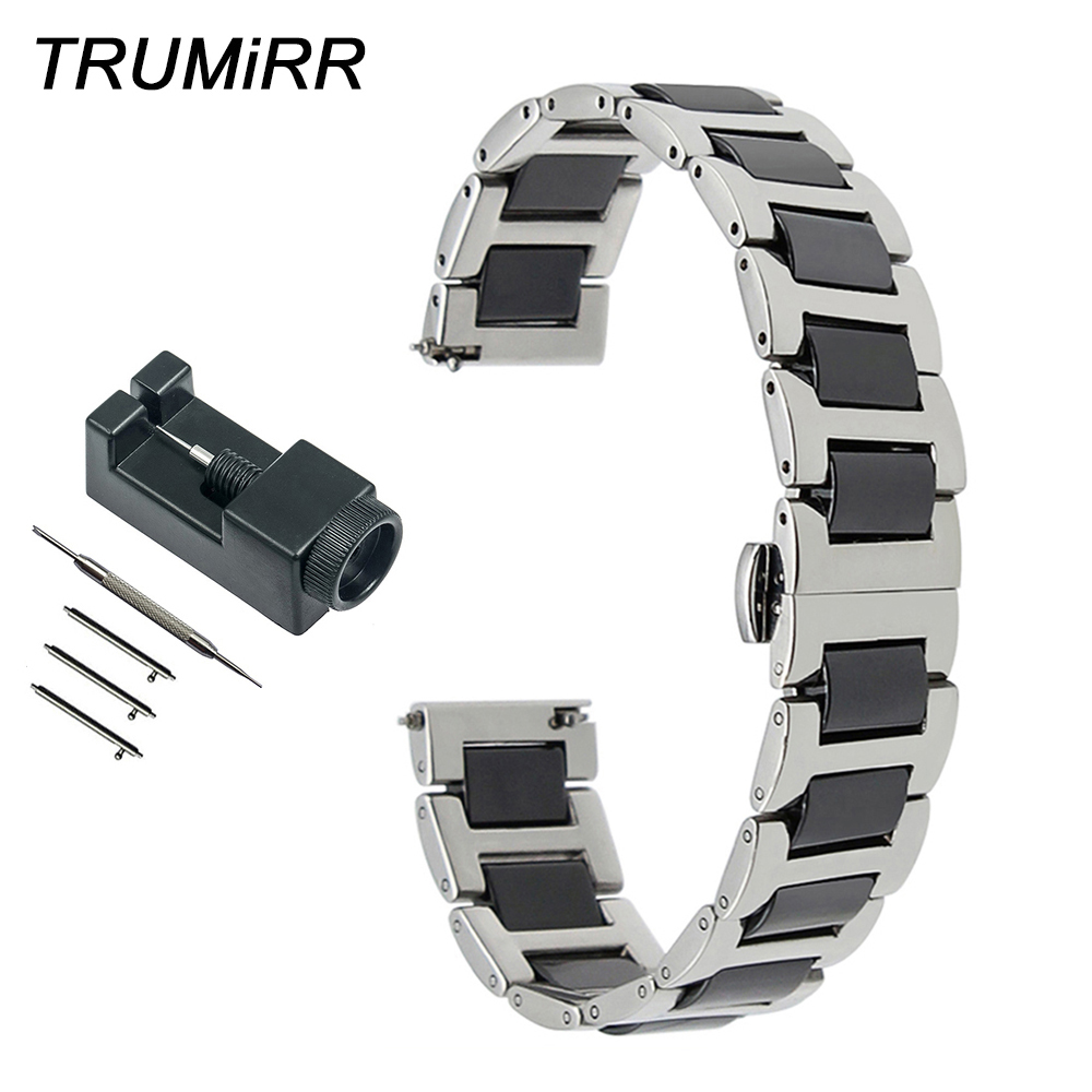 Ceramic + Stainless Steel Watchband Quick Release Strap for Casio Seiko Citizen Watch Band Wrist Bracelet 12 14 16 18 20 22mm ceramic stainless steel watch band 14 16 18 20 22mm for orient butterfly buckle strap quick release wrist belt bracelet tool