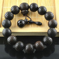 Thousand Eyes Chinese Tibetan Buddhist Bracelets Temple Block Charm Jewelry 14mm Black Sandalwood For Men and Women