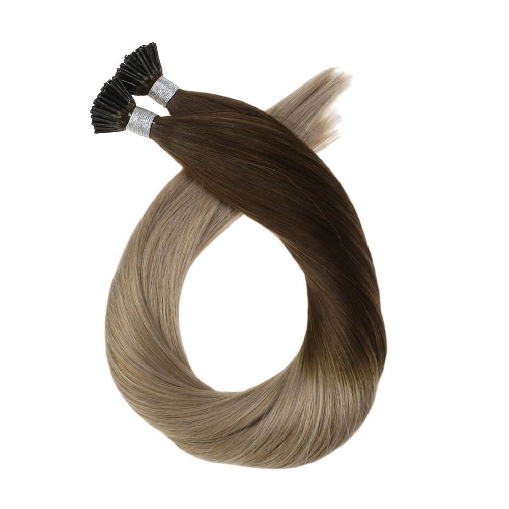 Moresoo Keratin I-tip Hair Extension Cold Fusion Real Remy Human Brazilian Hair Ombre And Highlight Color 50G 50 Strands