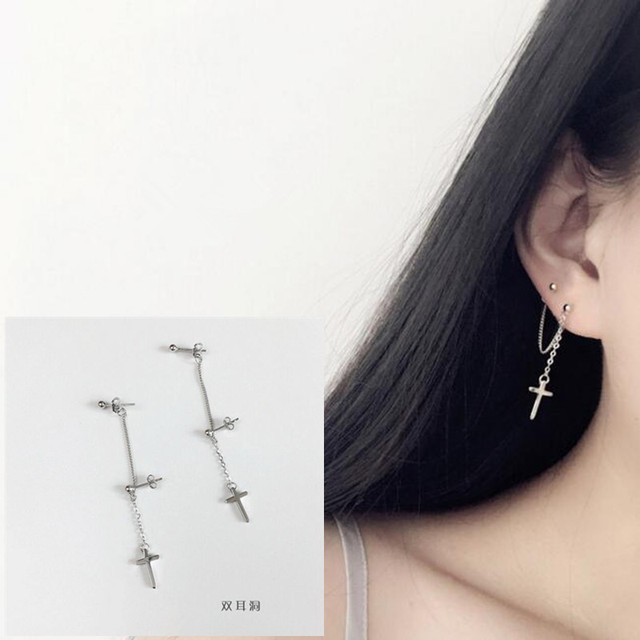 2bacc738d 1 pair BTS Kpop DNA Korean Earrings Men Bangtan Boys Double ear hole cross Stud  Earring For Women Men Album Accessories BTS Kpop