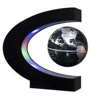 New C Shape Led Night Light With Magnetic Levitation Floating Globe World Map 3 Colors For