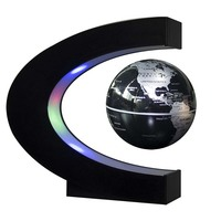 New C Shape Led Night Light With Magnetic Levitation Floating Globe World Map 3 Colors For