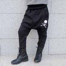 2017 kids big crotch Sweatpants Costumes boys Unisex bloomers Trousers Panelled Loose Skull Balck harem new Hip hop dance pants