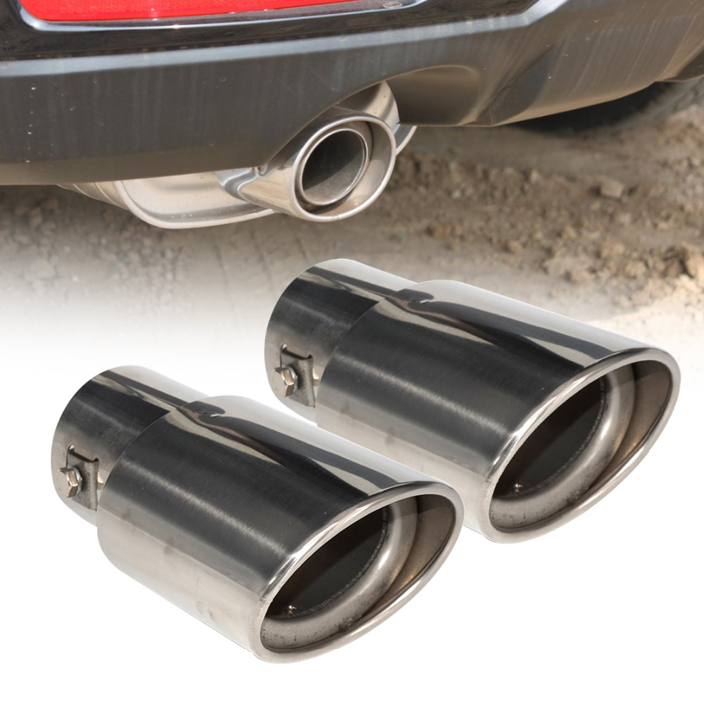Car Universal Round Silver Stainless Steel Exhaust Tail Muffler Tip Pipe 63MM CT