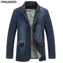 YIHUAHOO Casual Denim Jacke Männer Baumwolle Mantel 3XL 4XL Männlich Marke Kleidung Stilvolle Frühling Herbst Anzug Blazer Jean Jacke Männer
