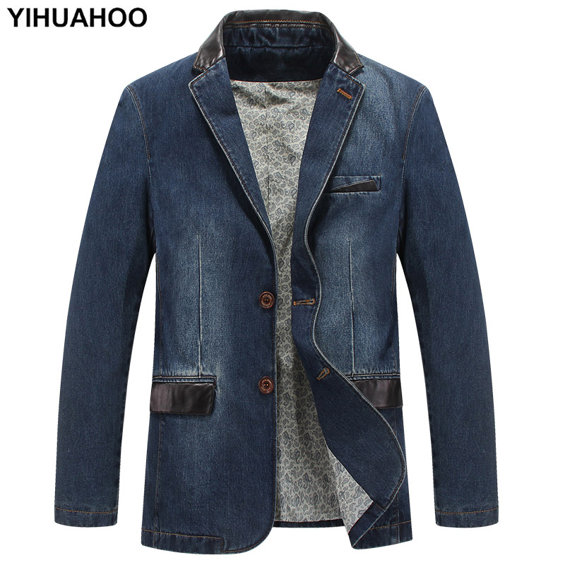 YIHUAHOO Casual Denim Jacket Men Cotton Coat 3XL 4XL Male Brand Clothing Stylish Spring Autumn Suit Blazer Jean Jacket Men