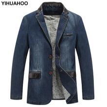 Yihuahoo 캐주얼 데님 자켓 남성 코튼 코트 3xl 4xl 남성 브랜드 의류 세련된 봄 가을 정장 블레이저 진 자켓 남성