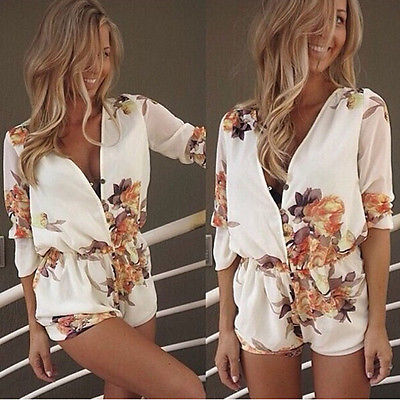 47d907ab7828 Women Fashion Hot Sexy Celeb Flower Playsuit Party Evening Summer Ladies  Short Jumpsuit Short Romper Beach Wear-in Rompers from Women s Clothing on  ...