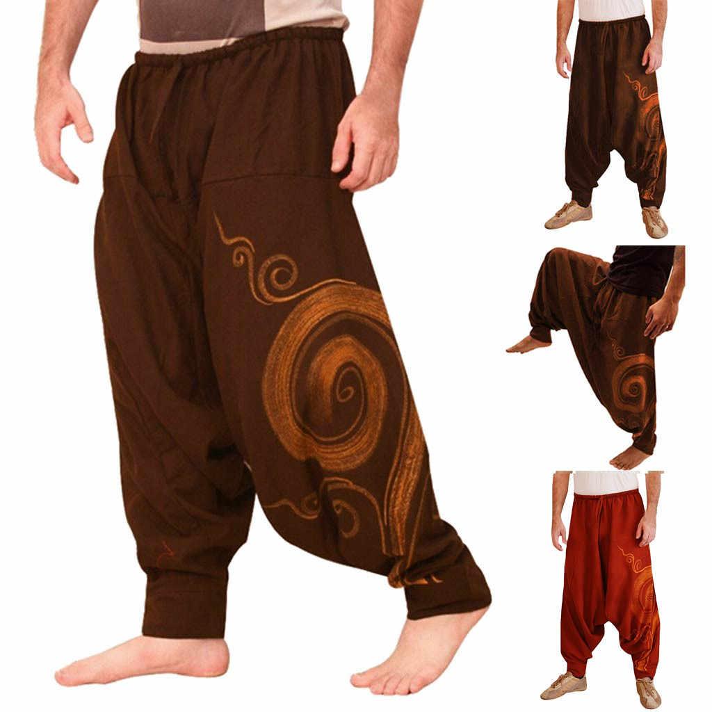 82c4818ffb3 Los hombres étnicas impresas mono Casual bolsillo deporte Yoga trabajo Casual  pantalones Pantsopen aire pantalones hombres